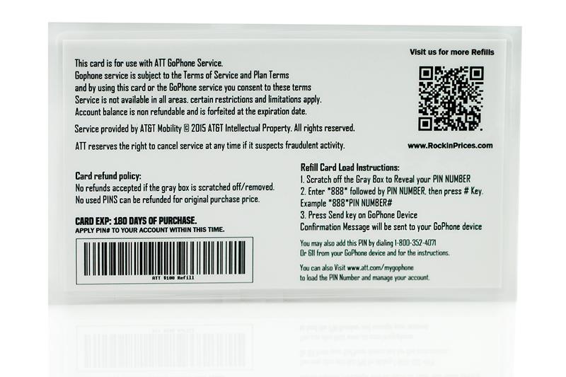 At T Go Phone 100 Refill Pin Physical Refill Card Top Up 1 Year Us Seller Att Ebay